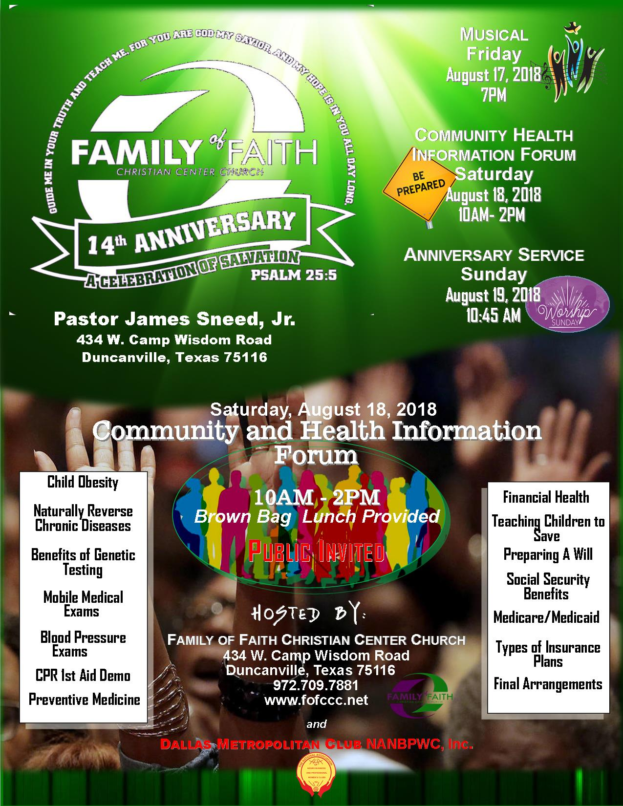 Family of Faith Christian Center Church's 14th Anniversary Celebration: 8/17-8/19