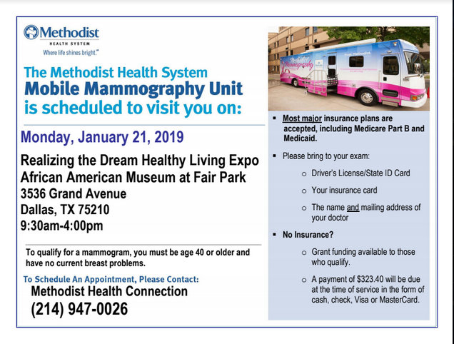 Methodist Mammogram Mobile Unit at the Healthy Living Expo: January 21, 2019