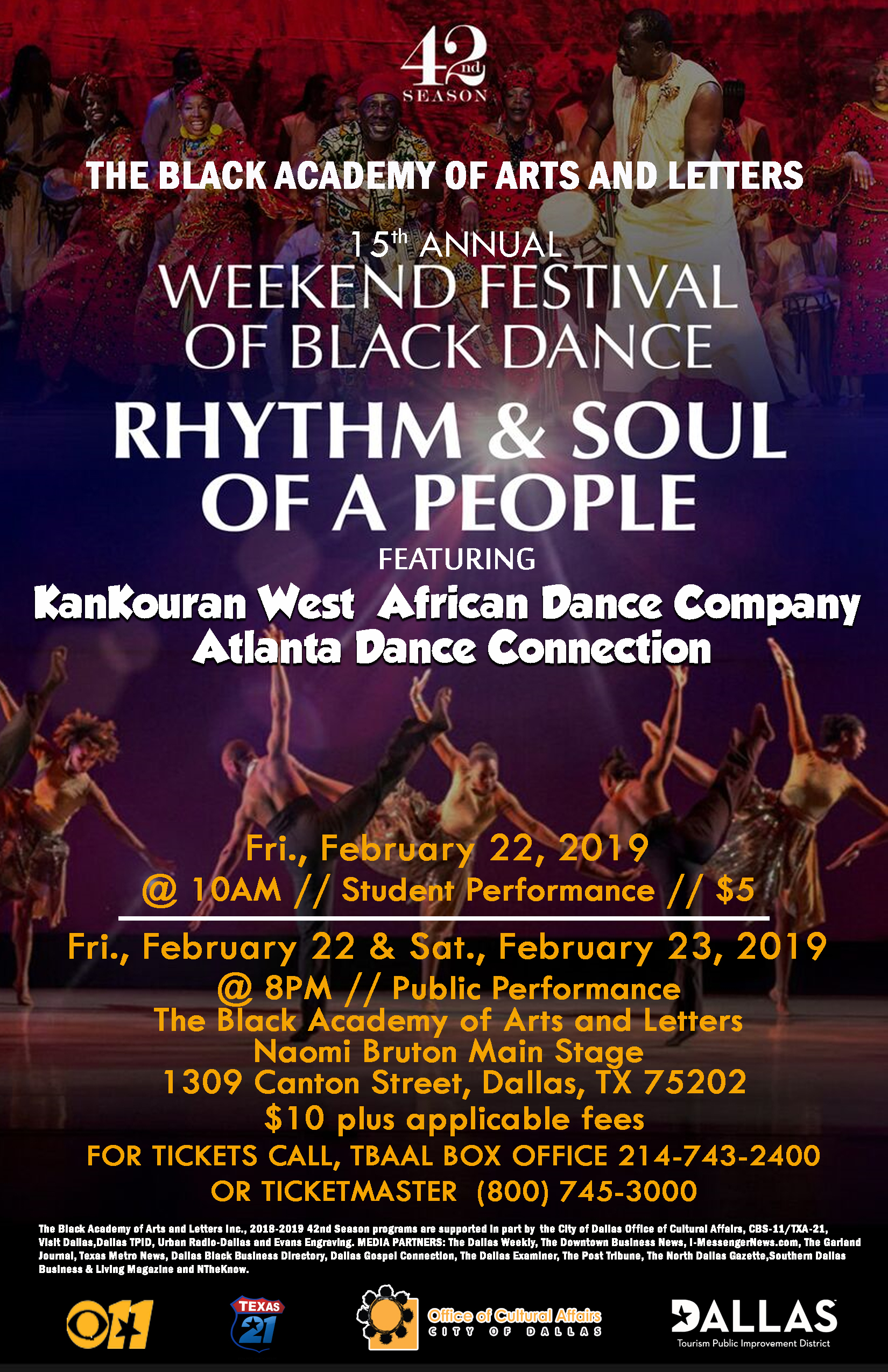 15TH ANNUAL WEEKEND FESTIVAL OF BLACK DANCE: FEBRUARY 22, 2019