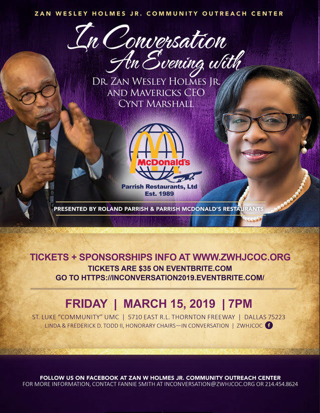 In Conversation: An Evening With Dr. Zan Wesley Holmes Jr. and Cynt Marshall: March 15, 2019