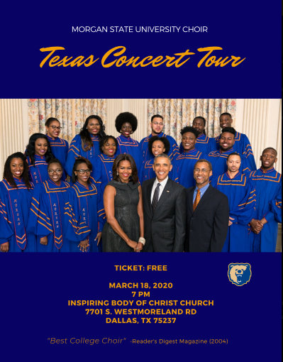 Morgan State University Choir Texas Concert Tour: March 18, 2020