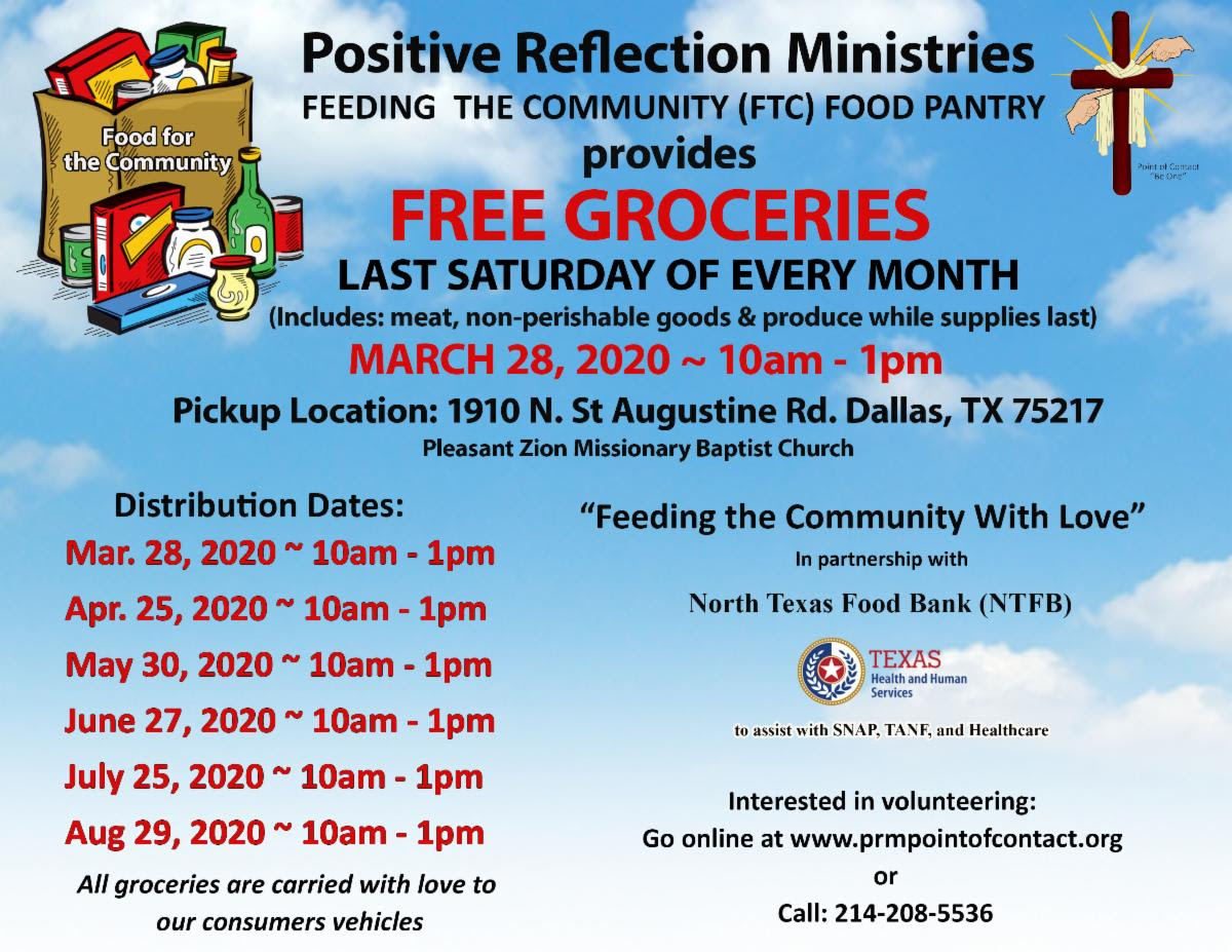 Positive Reflection Ministries' Feeding The Community: Last Saturday of Every Month